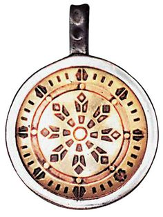 "Wheel of Law Talisman for Health, Wealth, & Happiness Pendant Ancient Japanese symbol worn today to attract Health, Wealth and Happiness.  This pendant is approximately 1"" in diameter, ⅛"" thick."