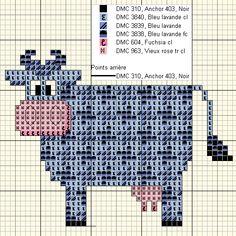 Cross-stitch Decorative Cute Cow, part 3... Vache pied de poule