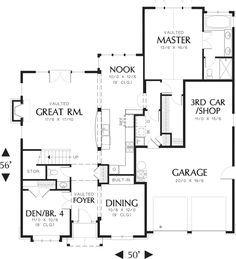 Craftsman Style house plan, bungalow design, main level floor plan  -turn 3rd car into bdrm -add bdrm above it -unvault great room & foyer, put playroom above