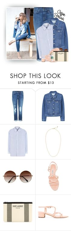 """Denim & Coffee..."" by hollowpoint-smile ❤ liked on Polyvore featuring J Brand, MANGO, Balenciaga, Monica Vinader, Manolo Blahnik and Yves Saint Laurent"