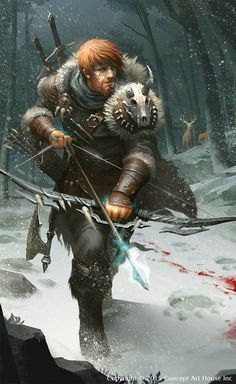 """Male human archer with leather bracers and furs winter setting - could be a hunter tracking a huge bear? we-are-dread-commando:  """" quarkmaster:  """"  Ullr  illustration for the 《destined war of gods》  Wayne Wu  """"  @weareranger """""""