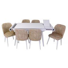 Set masa living Vegas Alba cu scaune crem Vegas, Dining Table, Doors, Furniture, Home Decor, Decoration Home, Room Decor, Dinner Table, Home Furnishings
