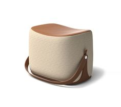 """an with strap that makes it highly portable. x x Storage area covered in gold leather.Cover in gold """"Cravache"""" fabric.Recalling the shape of a saddle, t Funny Furniture, Bench Furniture, Furniture Styles, Unique Furniture, Furniture Design, Hermes Home, Dressing Stool, Furniture Catalog, Pouf Ottoman"""