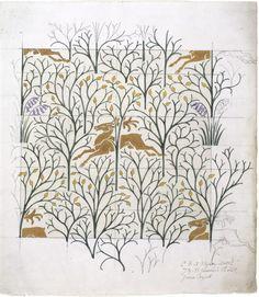1918 CFA Voysey 'The Deer in the Forest' design. V&A, given by Courtaulds Ltd. Motifs Textiles, Textile Patterns, Textile Design, Color Patterns, Fabric Design, Print Patterns, Of Wallpaper, Designer Wallpaper, Wallpaper Maker