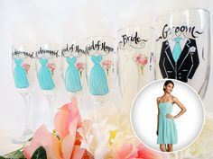 """Hand Painted """"Personalized"""" Dress Glasses by www.samdesigns.net, $13 each"""