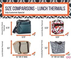 Size comparison of thermals on special this July! Thirty One Games, Thirty One Fall, Thirty One Party, Thirty One Thermal, Thirty One Organization, Organizing Tips, Thirty One Consultant, Independent Consultant, Thirty One Business