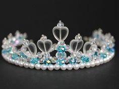 Linda cristal turquesa y diadema de corazón, niña de las flores Tiara, Tiara de…