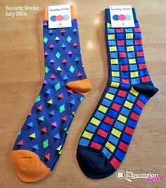Want to add some color to your style? Denise shares the funky socks in July's Society Socks subscription box! Check it out & save 50%!  #societysocks