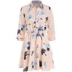 Lapel Flower Print Shirt Dress (18 AUD) ❤ liked on Polyvore featuring dresses, vestidos, short dresses, pink, floral print dress, flower print dress, pink dress, pink floral dress and pink chiffon dress