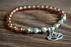 Lotus Bracelet - Lotus Flower Stretch - Beaded Stretch Bracelet - Yoga Bracelet - Silver Lotus Charm - Yoga Jewelry by BoulderBeads on Etsy