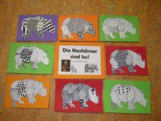 Nashörner und Vögel im Kunstunterricht Heute zeige ich euch einige Fotos zu den letzten beiden Kunstthemen, die ich mit meiner dritten K...