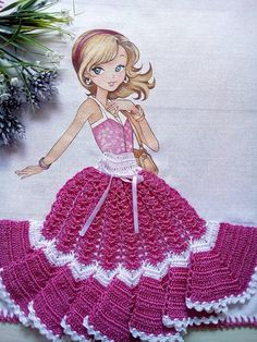 Pano de Copa de menina com saia de crochê.  Medidas: 50 x 76 cm  Sacaria 100% algodão da marca Apucarana  Saia de crochê confeccionada com linha de seda na cor pink  Pode ser usado como pano de fogão