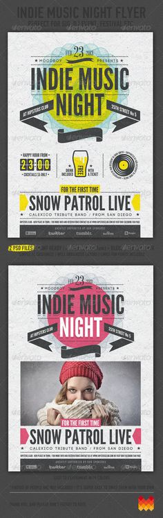 Indie Music Night Flyer / Poster  #club #concert #dj • Click here to download ! http://graphicriver.net/item/indie-music-night-flyer-poster/4123510?s_rank=125&ref=pxcr
