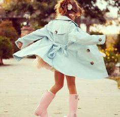 Blue trench coat for a little girl. Dressed to perfection. Kid's style.