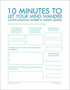 "Minutes To Let Your Mind Wander"" - Printable Journal Pages to help you put your thoughts into words. Journal writing is an important step in not only understanding yourself but also improving your relationships. 5 Minutes Journal, Writing Tips, Creative Writing, Writing Challenge, Short Story Writing Prompts, Pre Writing, Kids Writing, Teaching Writing, Creative Thinking"