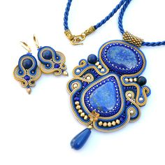 Lapis lazuli set soutache set soutache necklace by PikLusSoutache