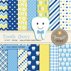 Tooth Boy Digital Paper and Clipart, Dental Care, Teeth ...