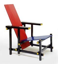 Sedia - Chair Rossa/Blu di Gerrit Thomas Rietveld