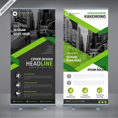 Grey and green double roll up design Free Vector ~ vectorkh Design Web, Flyer Design, Layout Design, Creative Design, Branding Design, Rollup Design, Rollup Banner Design, Mise En Page Web, Magazine Ideas