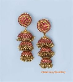 Antique Ruby Jhumkas Temple Jewellery Traditional Earrings Indian South