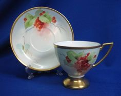 PICKARD ARTIST REURY SIGNED HANDPAINTED CURRANTS & GOLD PEDESTAL CUP & SAUCER