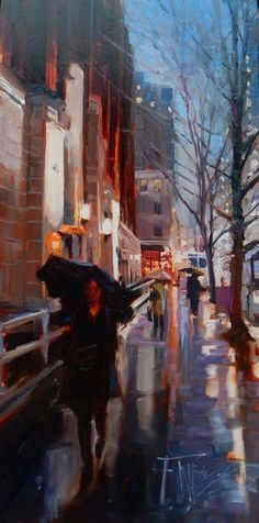 Seattle Rain Seattle City, oil painting by Robin Weiss Original art painting by Robin Weiss - DailyPainters.com #OilPaintingCity