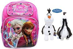 Disney Frozen Princess Elsa and Anna School Backpack & Frozen Queen Olaf Plush Backpack 17 for Kids @ niftywarehouse.com #NiftyWarehouse #Frozen #FrozenMovie #Animated #Movies #Kids