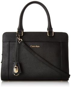 Calvin Klein Modena Saffiano Satchel Top Handle Bag Black Gold One Size