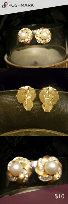Vintage Earrings One pair vintage goldtone pearl and rhinestone clip on earrings Jewelry Earrings