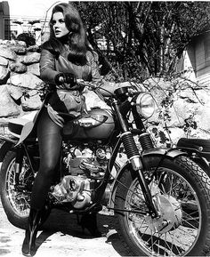 Actress Ann-Margret rode a classic Triumph T100, among the many bikes she owned. This photo was taken circa 1960s-1970s in Hollywood outside the studio where she was filming. She often rode to and from work.