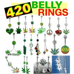 420 Belly Rings by wickedbodyjewelz on Polyvore featuring polyvore, fashion, style and clothing