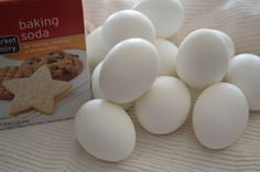 Use baking soda when hard boiling eggs and shells peel right off! Save broken shells for the garden to deter slugs. Pour cooled water on plants (nutrients).