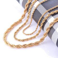 Breite 2/4/6mm Edelstahl Gold Seil Kette Halskette Erklärung Swag Edelstahl-316l Verdrehte Halskette kette Gold