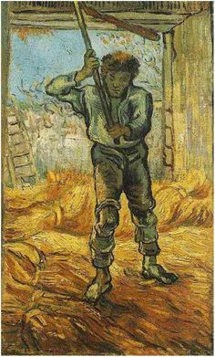 Painting, Oil on Canvas Saint-Rémy: September, 1889 Van Gogh Museum Amsterdam, The Netherlands, Europe Image Only - Van Gogh: Thresher (after Millet), The
