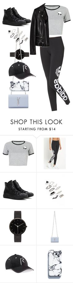 """Untitled #9468"" by katgorostiza ❤ liked on Polyvore featuring WithChic, adidas Originals, Converse, Topshop, I Love Ugly and Yves Saint Laurent"