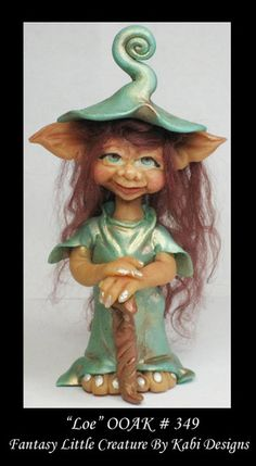 Magical Troll Art Doll Polymer Clay Fantasy Miniature DollHouse