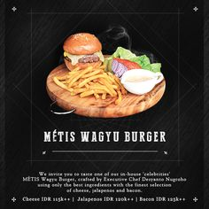 delicious cuisine is new on metis. come and have a taste. Burger Meat, Executive Chef, Hamburger, Bali, Events, Vegetables, Ethnic Recipes, Food, Kitchens
