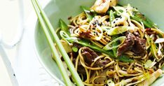 Throw out the rule book to midweek cooking and try out creative combinations, like this low-fat sweet chilli beef noodles.