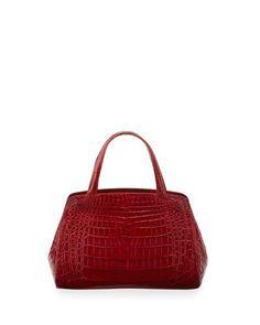 NANCY GONZALEZ Crocodile Small Satchel Bag, Red. #nancygonzalez #bags #hand bags #satchel #