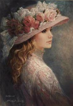 Brenda Burke painting ~ This is a lovely painting for the shabby chic home ♥ Victorian Paintings, Victorian Art, Victorian Women, Vintage Paintings, Vintage Prints, Vintage Art, Vintage Ladies, Shabby Vintage, Vintage Pictures