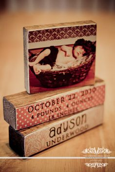 photo blocks - could make these with Jenga blocks or other wooden blocks + mod podge  -- nice gift