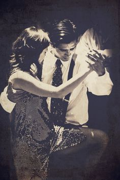 black and white photo of tango dancers in Argentina