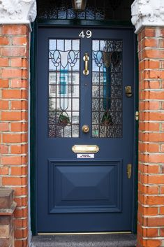 hotel front Bespoke accoya front door and fan light with beautiful stain glass, manufactured, fully factory finished and installed for a property in Islington, London. Teal Front Doors, Cottage Front Doors, Victorian Front Doors, Front Door Porch, Painted Front Doors, House Front Door, Front Door Colors, Glass Front Door, Dark Front Door