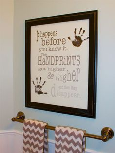 Handprints Poster - capture their handprints and be reminded with this keepsake that time with your children goes by quickly. Enjoy the moments and remember their milestones - Barn Owl Primitives Baby Crafts, Crafts To Do, Craft Projects, Crafts For Kids, Projects To Try, Kids Diy, Toddler Crafts, Family Crafts, Handprint Art