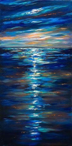 Dusk On The Ocean by Linda Olsen - Dusk On The Ocean Painting - Dusk On The Ocean Fine Art Prints and Posters for Sale