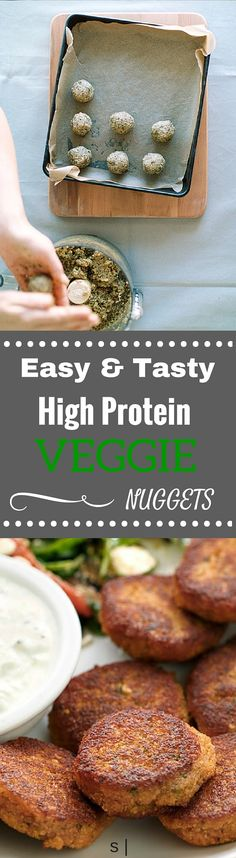Easy & Tasty, High Protein Veggie Nuggets www.4hourbodygirl.com jw: includes quinoa and lentils. maybe try tatziki for dip or stone ground mustard?
