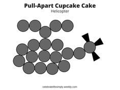 Helicopter Pull-Apart Cupcake Cake Template