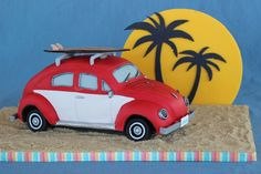 Vintage Vw Bug On Beach With Sunset Backdrop This is a vintage VW Bug cake, sculpted and covered in fondant. The surfboard is made from. Fancy Cakes, Cute Cakes, Crazy Cakes, Motor Cake, Motorbike Cake, Bug Cake, Beach Cars, Truck Cakes, Modeling Chocolate