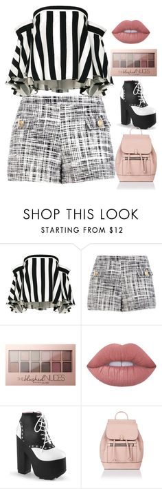 """5. Blogger Style: Monochrome Love"" by sakshisinghchandel ❤ liked on Polyvore featuring Milly, Boutique Moschino, Maybelline, Lime Crime, Accessorize, StreetStyle, blackandwhite, casualoutfit and BoldStripes"