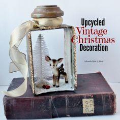 Upcycled brass lantern part into Christmas decoration, Adirondack girl @ Heart Rustic Christmas, Vintage Christmas, Christmas Crafts, Christmas Ornaments, Reindeer Christmas, Primitive Christmas, Fall Crafts, Old Lanterns, Antique Lanterns